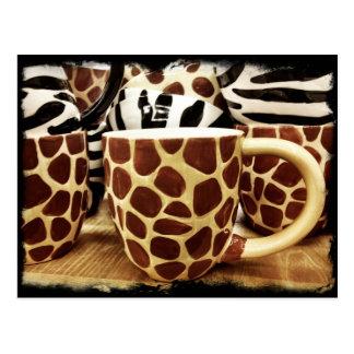 Cool Giraffe Pattern and Zebra Stripes Coffee Mugs Postcards