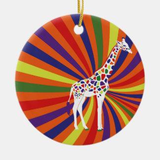 Cool Giraffe Round Ceramic Decoration
