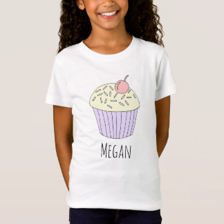 Cool Girl's Doodle Cupcake Muffin with Name T-Shirt