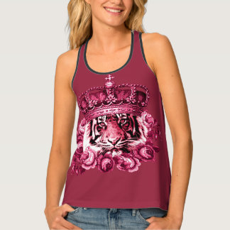 Cool girly floral tiger tank top