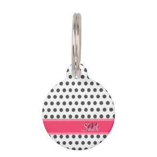 Cool girly monogram grey large polka dots pattern pet name tag
