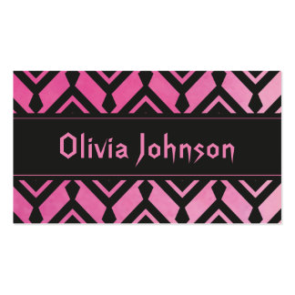 Cool Girly Pink Ikat Aztec Pattern Pack Of Standard Business Cards