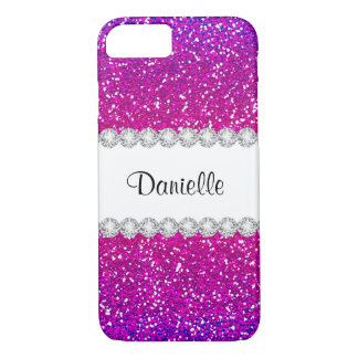 Cool Girly Pink Purple Glitter Bling iPhone 7 Case
