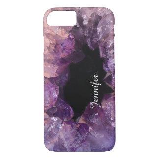 Cool glitter purple amethyst gemstone crystal name iPhone 8/7 case