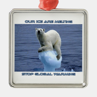 cool GLOBAL WARMING designs Silver-Colored Square Decoration
