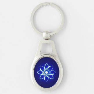 Cool Glowing Atom Silver-Colored Oval Key Ring
