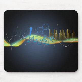 Cool glowing effects music notes heart swirls mouse pad