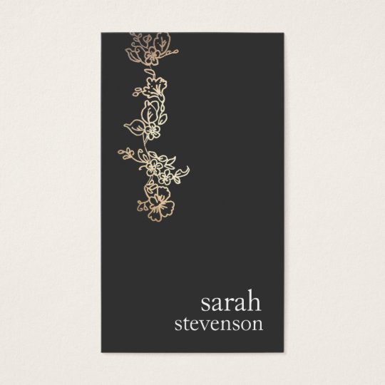 Cool Gold and Black Hand Drawn Floral Vine