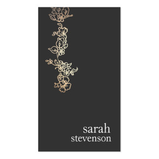 Cool Gold and Black Hand Drawn Floral Vine Pack Of Standard Business Cards
