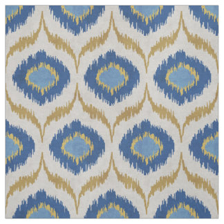 Cool gold and blue ikat tribal pattern fabric