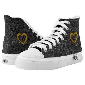 Cool Gold Heart Black Denim High Tops