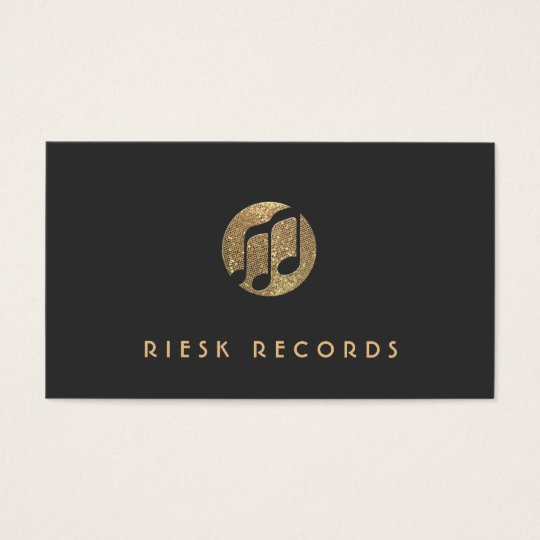 Cool Gold Music Note Logo Musician Business Card