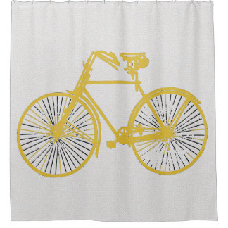 Cool gold yellow bicycle  Shower curtain