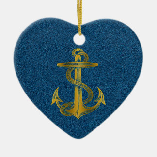 cool golden anchor effect on blue glitter ceramic heart decoration