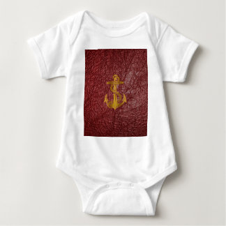 cool golden anchor on red leather effect baby bodysuit
