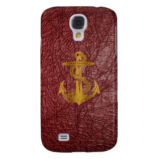 cool golden anchor on red leather effect galaxy s4 case