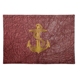 cool golden anchor on red leather effect placemat