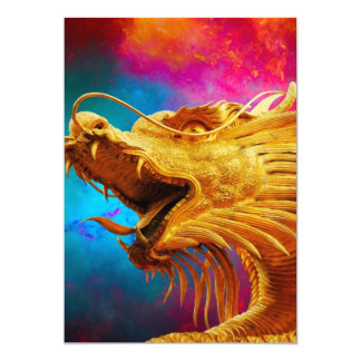 Cool Golden Dragon colourful Thailand background Card