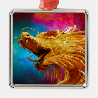 Cool Golden Dragon colourful Thailand background Christmas Ornament