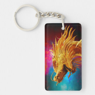 Cool Golden Dragon colourful Thailand background Key Ring