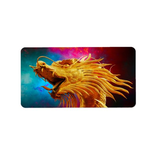 Cool Golden Dragon colourful Thailand background Label