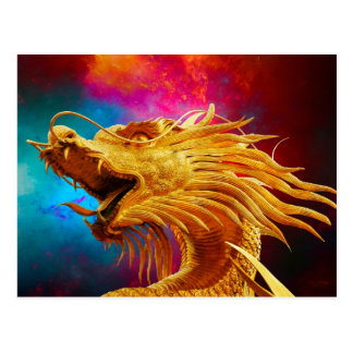 Cool Golden Dragon colourful Thailand background Postcard