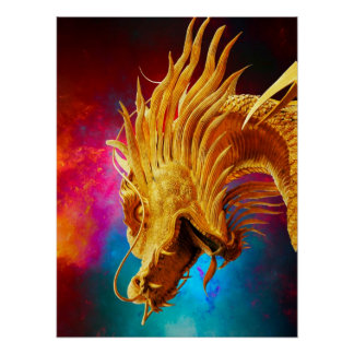 Cool Golden Dragon colourful Thailand background Poster