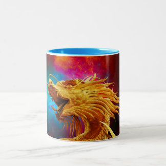 Cool Golden Dragon colourful Thailand background Two-Tone Coffee Mug