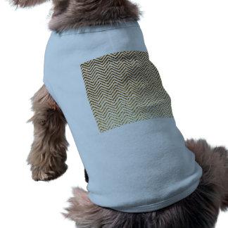 Cool Golden Glitter Chevron Pattern Sleeveless Dog Shirt