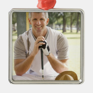 Cool golfer Silver-Colored square decoration