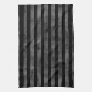 Cool goth punk grungy black and gray dark stripes tea towel