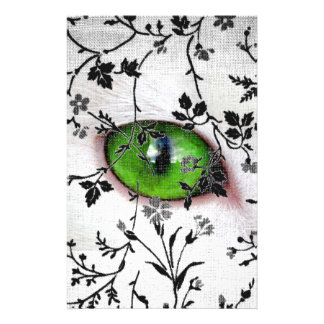 Cool Gothic Floral Girly Eye of Cat Stationery Design