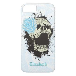 Cool gothic skull and aqua blue rose iPhone 7 case