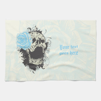 Cool gothic skull and blue rose custom kitchen towel