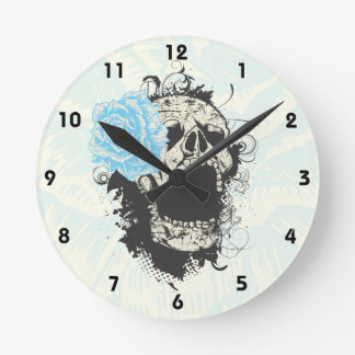 Cool gothic skull and blue rose wall clock