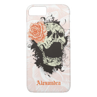 Cool gothic skull and orange rose iPhone 7 case
