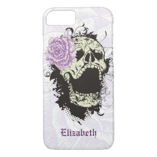 Cool gothic skull and purple rose iPhone 7 case