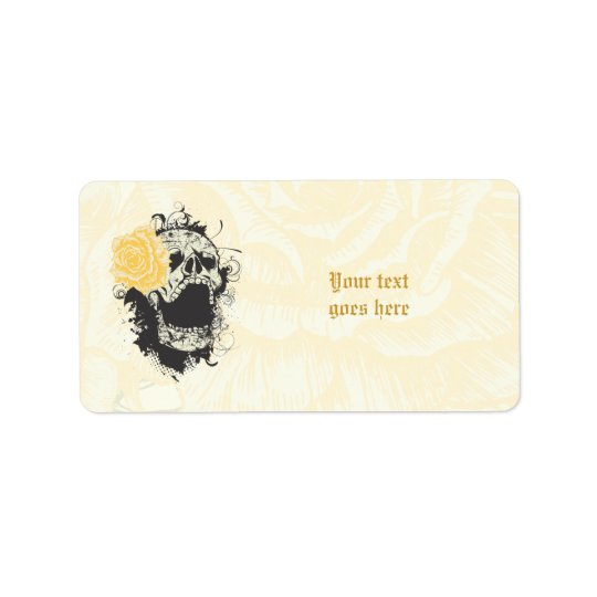 Cool gothic skull and yellow rose custom label address label