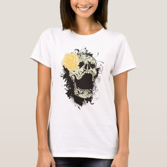 Cool gothic skull and yellow rose custom t-shirt