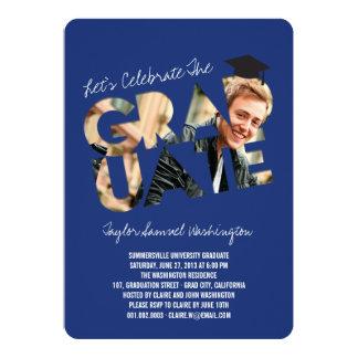 "Cool Graduate Cutout Graduation Photo Party Invite 5"" X 7"" Invitation Card"