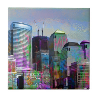 Cool graffiti splatters watercolours New York city Small Square Tile