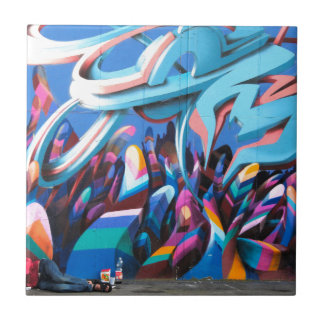 Cool Graffiti Wall Small Square Tile