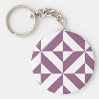 Cool Grape Geometric Deco Cube Pattern Basic Round Button Key Ring