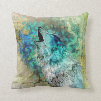 Cool Gray and Turquoise Howling Wolf Art Cushion