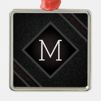 Cool Gray & Black Asphalt Effect With Monogram Christmas Ornament