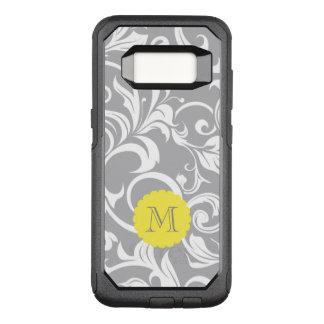 Cool Gray Yellow Floral Wallpaper Swirl Monogram OtterBox Commuter Samsung Galaxy S8 Case