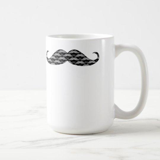 Cool Grayscale Moustache Patterns Coffee Mug