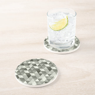 Cool Grayscale triangles geometric pattern Coaster