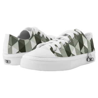 Cool Grayscale triangles geometric pattern Printed Shoes