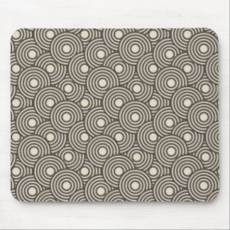 Cool green and cream circles pattern image print mouse pad